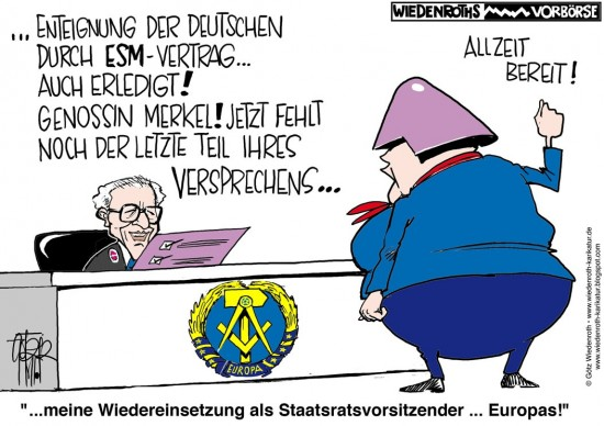 ESM-Vertrag: Genossin Merkel zum Rapport